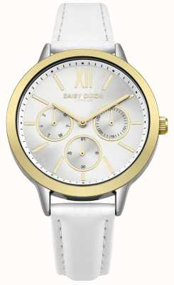 Daisy Dixon White Leather Strap Silver Sunray Dial Gold Case DD055WSG