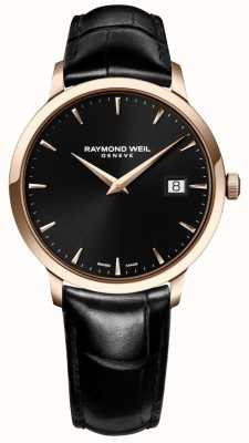 Raymond Weil Mens Toccata Black Leather Strap Black Dial 5488-PC5-20001