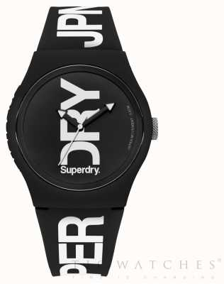 Superdry Black Dial Black Silicone Strap SYG189BW