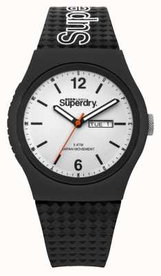 Superdry White Dial Black Silicone Strap SYG179WB