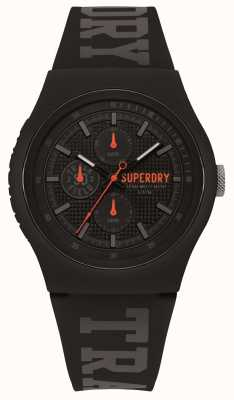 Superdry Grey Print Black Silicone Strap SYG188BB