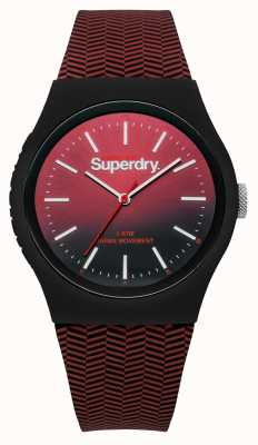 Superdry Red To Black Gradient Dial Red Patterned Strap SYG184RB