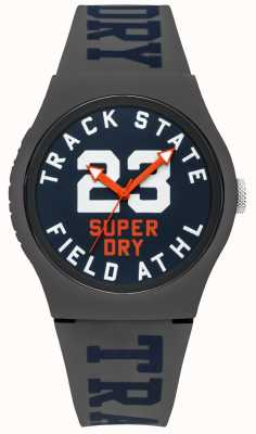 Superdry Track State Print Dial Blue Face Grey Strap SYG182UE