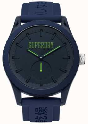 Superdry tokyo Navy Dial Green Hands Blue Silicone Strap SYG145UU
