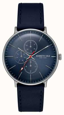 Kenneth Cole New York Blue Dial Date Display Leather Bracelet KC15189001