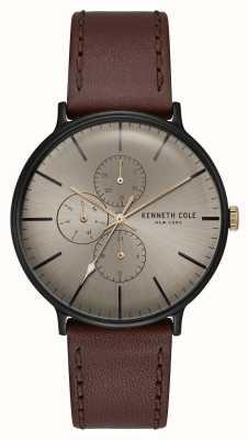 Kenneth Cole New York Bronze Dial Black Case Dark Brown Leather Strap KC15189002