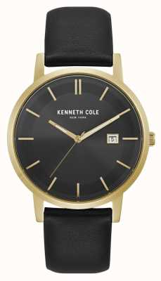 Kenneth Cole New York Date Display Black Dial Gold Case Black Leather KC15202002