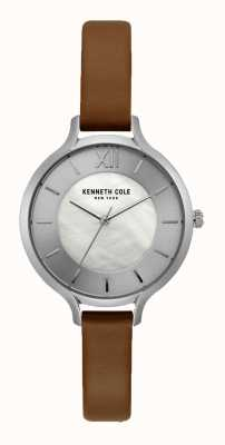 Kenneth Cole New York Silver Dial Dark Tan Leather Strap KC15187005