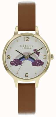 Radley Womans Rainbow Dog Gold Case Brown Leather Strap RY2558