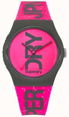 Superdry Womans Urban Glitter Bright Pink Strap And Dial SYL189PP