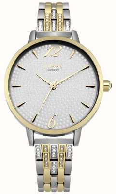Lipsy Silver Sunray Crystal Set Dial Two Tone Crystal Bracelet LP532