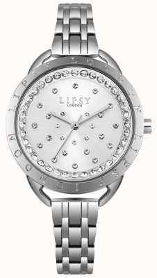 Lipsy Silver Sunray Crystal Set Dial Silver Stainless Steel Case LP553
