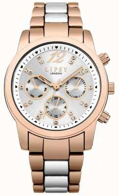 Lipsy Chronograph Silver Sunray Dial Rose Gold & Silver Two Tone LP529