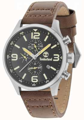 Timberland Rutherford Black Dial Brown Leather Strap 15266JS/02