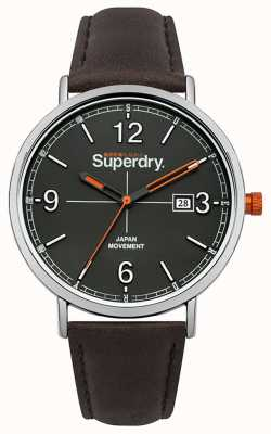 Superdry Dark Brown Leather Strap Grey Dial SYG190BR