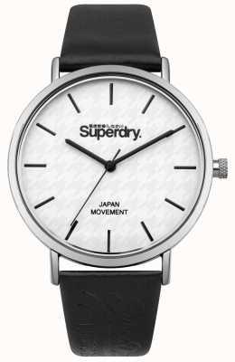 Superdry Black Leather Strap White Print Dial SYL190B