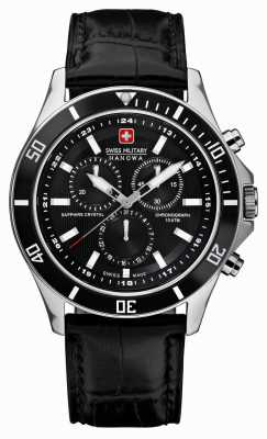 Swiss Military Hanowa Flagship Chronograph Black Leather Strap 6-4183.7.04.007
