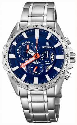 Festina Chronograph Day & Date Display Blue Dial Stainless Steel F6864/3