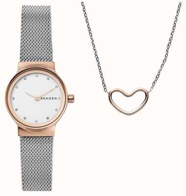Skagen Womens Katrine Gift Set Heart Necklace SKW1101