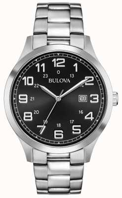 Bulova Date Display Black Face Stainless Steel Metal Bracelet 96B274