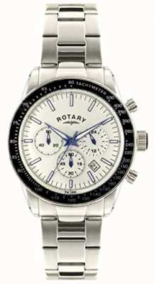 Rotary Mens Chronograph Stainless Steel Bracelet White Dial GB00470/01