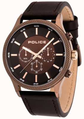 Police Mens Pace Brown Leather Watch 15002JSBN/12