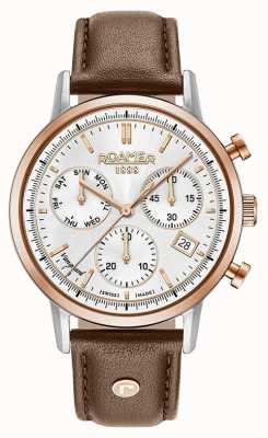 Roamer Mens Vanguard Chrono II Brown Leather Strap 975819491509