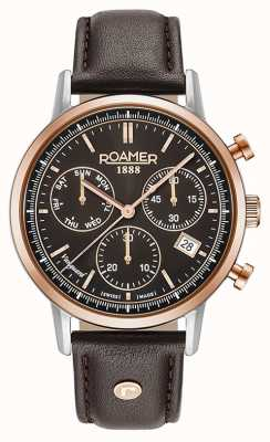 Roamer Vanguard Mens Brown Leather Brown Dial Rose Gold Bezel 975819495509