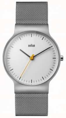 Braun Mens Classic Slim White Dial Mesh Bracelet BN0211WHSLMHG