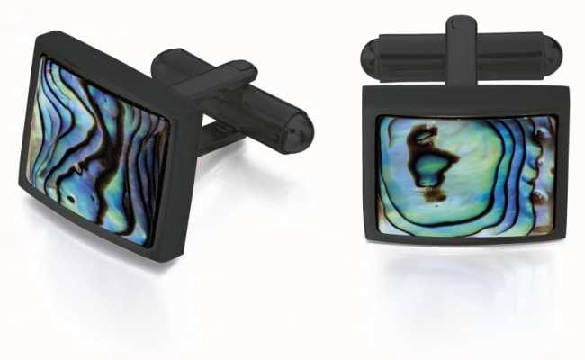 Fred Bennett Mens Black Ion Plated Steel Paua Shell Cuff Links V526