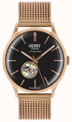 Henry London Mens Heritage Automatic Rose Gold Plated Mesh Bracelet HL42-AM-0286
