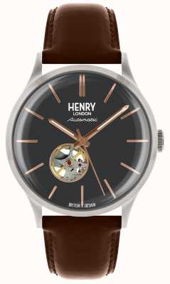 Henry London Mens Automatic Blue Dial Tan Leather Strap HL42-AS-0281