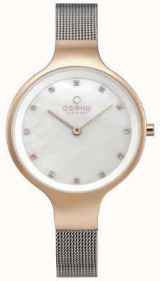 Obaku Womens Sky Watch Silver Mesh Bracelet Rose Gold Tone Case V173LXVWMC