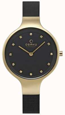 Obaku Womens Sky Watch Black Mesh Bracelet Gold Tone Case V173LXGBMB