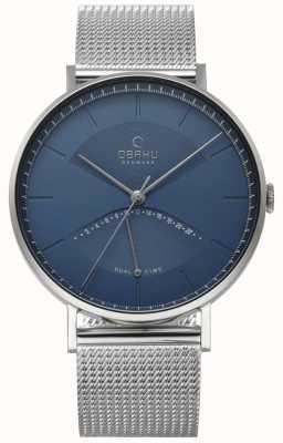 Obaku Mens Elm Watch Silver Mesh Bracelet Blue Dial V213GUCLMC