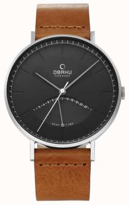 Obaku Mens Elm Watch Tan Leather Strap Black Dial V213GUCURZ