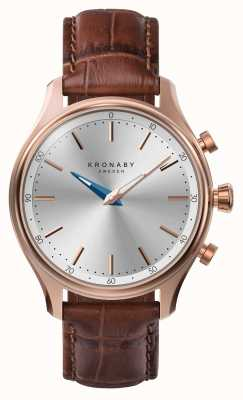 Kronaby 38mm SEKEL Bluetooth Rose Gold Leather Strap Smartwatch A1000-2748