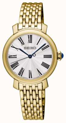 Seiko Womens Gold Plated Bracelet Watch White Dial SRZ498P1