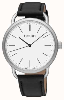 Seiko Womens Recraft Watch Black Leather Strap White Dial SUR237P1