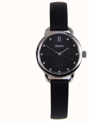 Seiko Womens Classic Stainless Steel Case Black Leather Strap SUR699P1