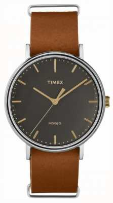 Timex Fairfield 41mm Brown Leather Strap Chrome Case TW2P97900