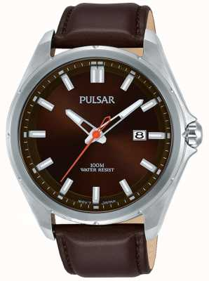 Pulsar Brown Leather Strap Stainless Steel Case Date Display PS9555X1