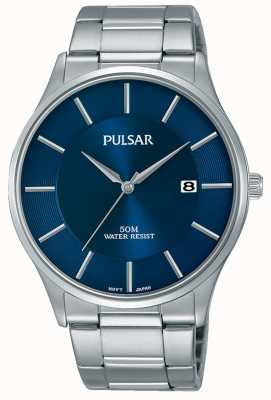 Pulsar Stainless Steel Blue Dial Date Display PS9541X1