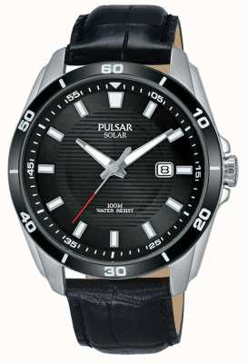 Pulsar Mens Solar Watch Black Dial Black Leather Strap PX3157X1