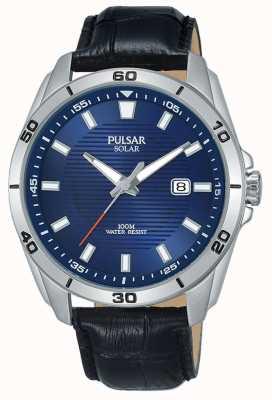 Pulsar Men's Black Leather Strap Solar Blue Dial PX3155X1