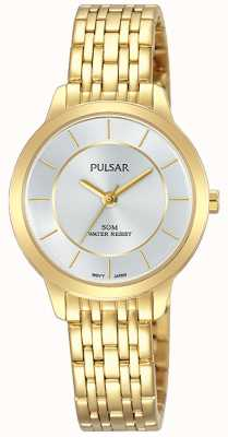 Pulsar Womens Gold Plated Stainless Steel Bracelet 50m Resistance PH8370X1