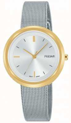 Pulsar Womens Silver Steel Mesh Bracelet Round Gold Case PH8386X1