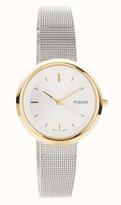 Pulsar Womens | Stainless Steel Mesh Bracelet | Round Gold Case | PH8386X1