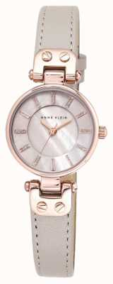 Anne Klein Womens Lynn Watch rise Gold Case Leather Strap AK/N1950RGTP