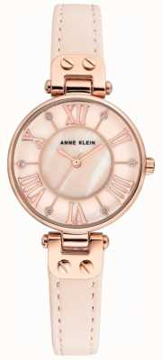 Anne Klein Womens Jane Watch Rose Gold Case Leather Strap AK/N2718RGPK